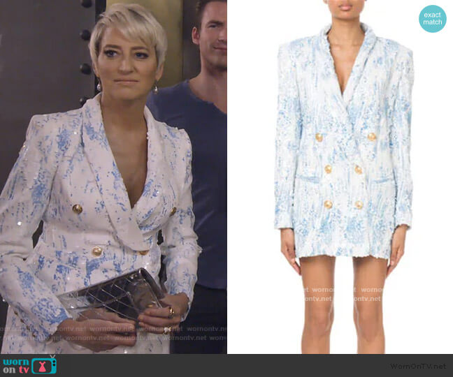 Degrade Sequin 6-Button Jacket Dress by Balmain worn by Dorinda Medley  on The Real Housewives of New York City