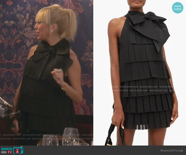 Bow-Embellished Pleated-Mesh Mini Dress by Balmain worn by Sutton Stracke  on The Real Housewives of Beverly Hills
