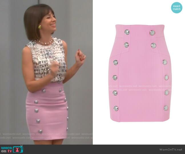 Button Embellished Mini Skirt by Balmain worn by Elizabeth (Natasha Leggero) on Broke