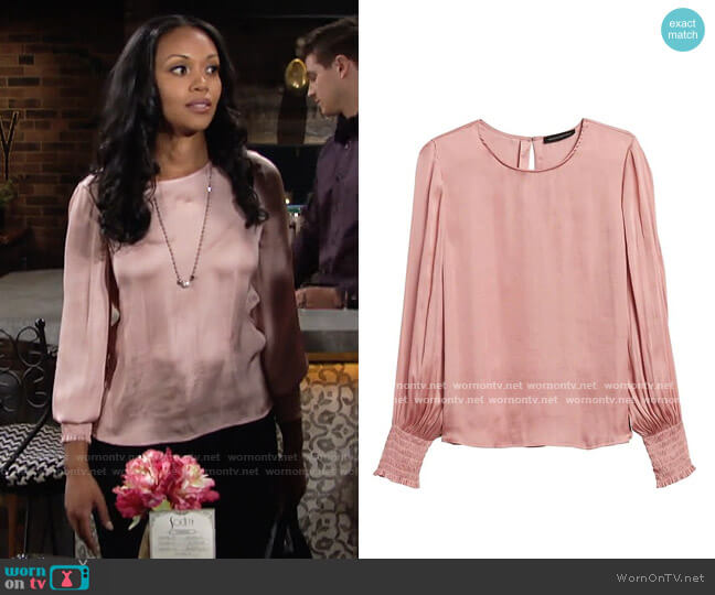 Banana Republic Satin Smocked-Sleeve Blouse worn by Amanda Sinclair (Mishael Morgan) on The Young & the Restless