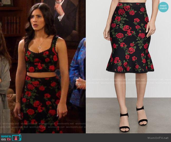 La Rosa Flared Pencil Skirt by Bcbgmaxazria worn by Gabi Hernandez (Camila Banus) on Days of our Lives