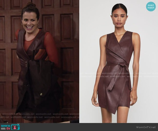 Layla Asymmetrical Pleather Dress by Bcbgmaxazria worn by Chelsea Lawson (Melissa Claire Egan) on The Young & the Restless