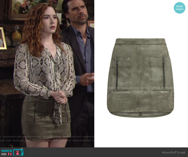 Patch Pocket Faux Suede Skirt by Bcbgmaxazria worn by Mariah Copeland (Camryn Grimes) on The Young & the Restless