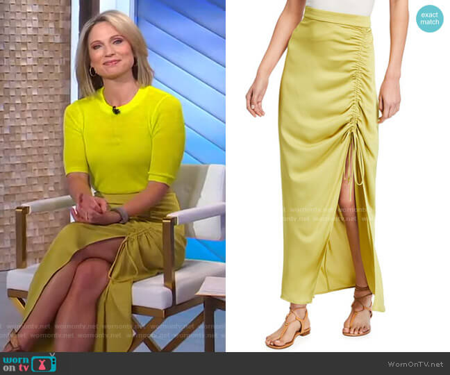 Ruched Maxi Skirt by Bcbgmaxazria worn by Amy Robach  on Good Morning America