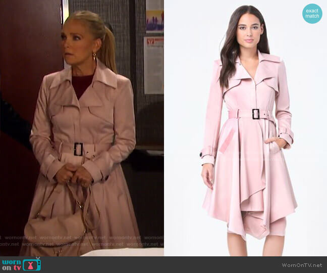 Mab Trench Coat by Bebe worn by Jennifer Horton (Melissa Reeves) on Days of our Lives