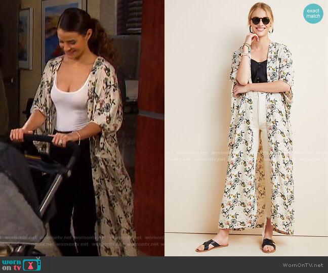Sadie Duster Kimono by Bel Kazan worn by Sarah Horton (Linsey Godfrey) on Days of our Lives