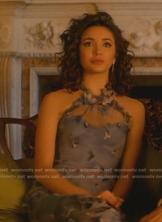 Bess's lilac floral halter tulle dress on Nancy Drew