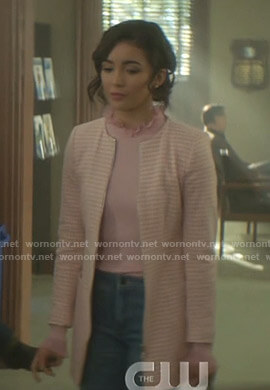 Bess's pink frilled neck sweater on Nancy Drew
