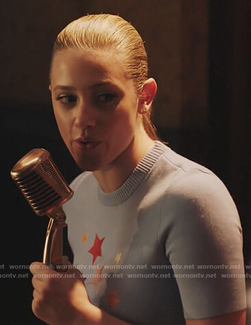Betty's blue short sleeve star sweater on Riverdale