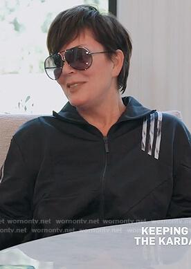 Kris's black adidas track jacket on Keeping Up with the Kardashians
