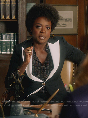 Annalise's black chain print blouse and blazer on How to Get Away with Murder