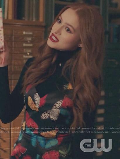 Cheryl's black butterfly mini dress on Riverdale