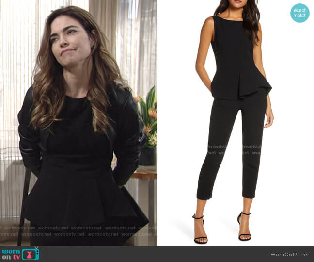 Kasia Peplum Detail Sleeveless Jumpsuit by Black Halo worn by Victoria Newman (Amelia Heinle) on The Young & the Restless