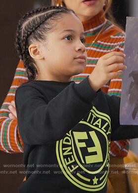 Kam's black Fendi logo sweatshirt on BlackAF