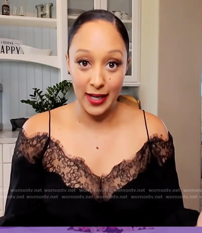 Tamera's black lace trim cold shoulder on The Real