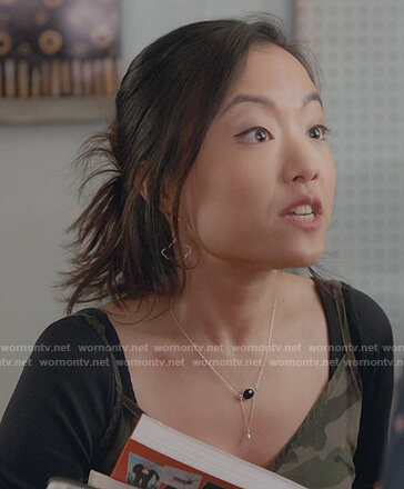 Kim's camo print slip dress on Kims Convenience
