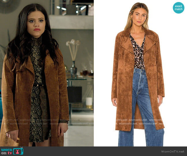 Blank NYC Coco Faux Suede Trench worn by Maggie Vera (Sarah Jeffery) on Charmed