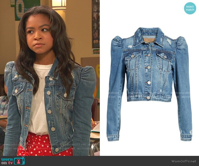 Crop Puff Shoulder Denim Jacket by Blank NYC worn by Nia Baxter (Navia Robinson) on Ravens Home