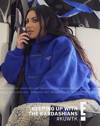 Kim's blue Jesus is King hoodie on Keeping Up with the Kardashians
