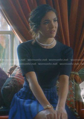 Bess's blue stripe-skirt dress on Nancy Drew