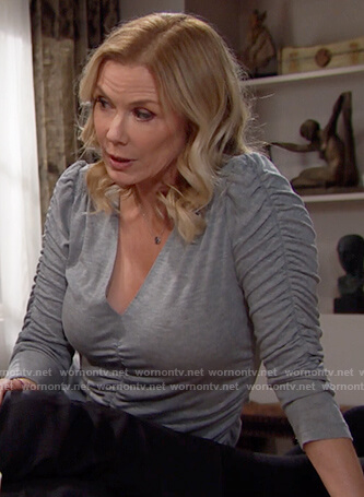 Brooke's gray ruched top on The Bold and the Beautiful