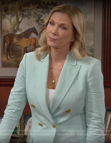 Brooke's mint green double-breasted blazer on The Bold and the Beautiful