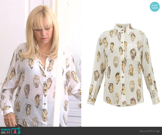 Oyster-Print Pearl-Embroidered Silk Blouse by Burberry worn by Sutton Stracke  on The Real Housewives of Beverly Hills