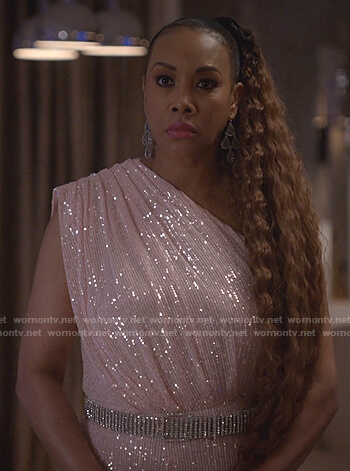 Candace's pink sequin one-shoulder jumpsuit on Empire