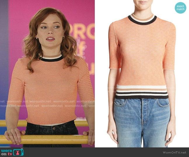 Stripe Trim Sweater by Carven worn by Zoey Clarke (Jane Levy) on Zoeys Extraordinary Playlist