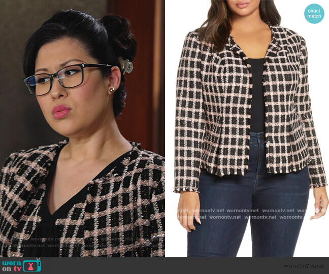 Grid Tweed Frayed Jacket by Cece worn by Sherri Kansky (Ruthie Ann Miles) on All Rise
