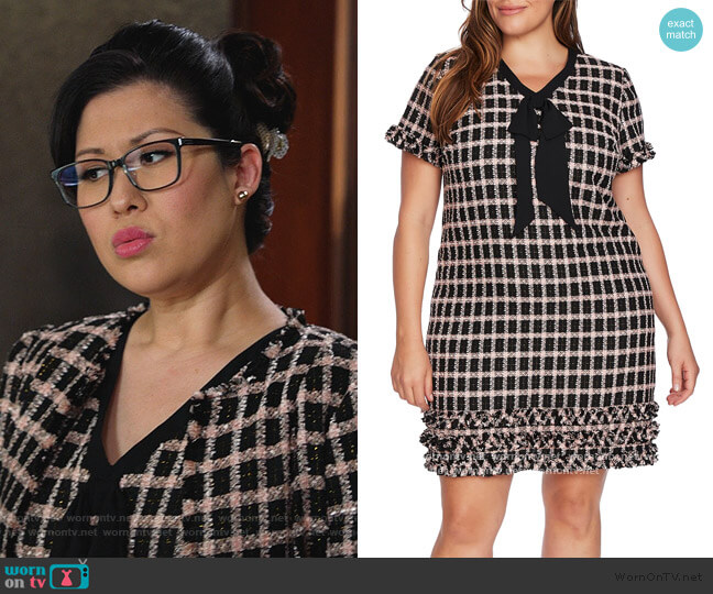 Grid Tweed Short Sleeve A-Line Dress by Cece worn by Sherri Kansky (Ruthie Ann Miles) on All Rise