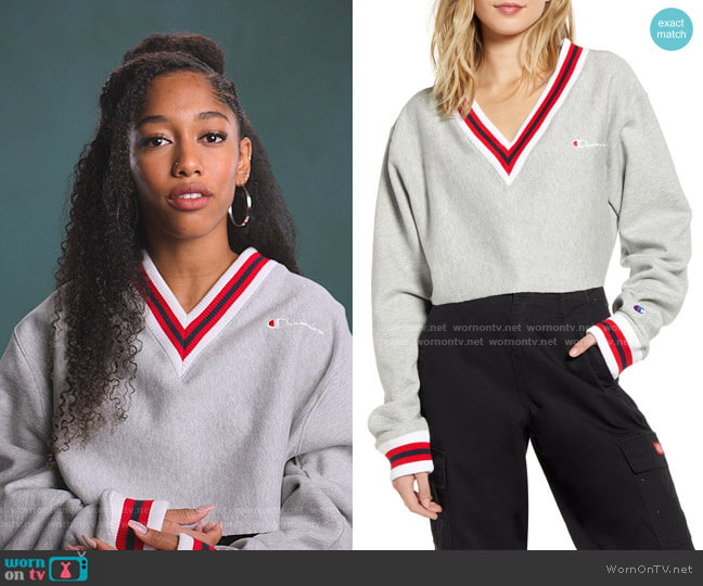 Yarn Dye Stripe Trim Reverse Weave Crop Sweatshirt by Champion worn by Drea Barris (Iman Benson) on BlackAF
