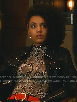 Charlie's snake print top on Legends of Tomorrow