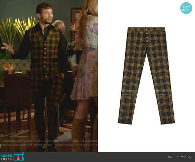 Checked Pants by Lords and Fools worn by Sam Flores (Rafael de la Fuente) on Dynasty