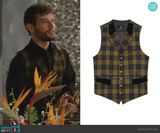 Checked Vest by Lords and Fools worn by Sam Flores (Rafael de la Fuente) on Dynasty