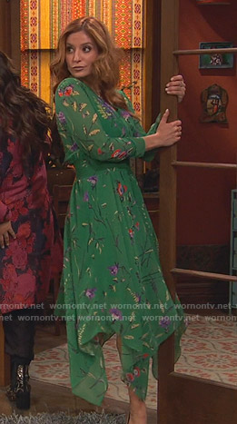 Chelsea's green floral handkerchief hem dress on Ravens Home