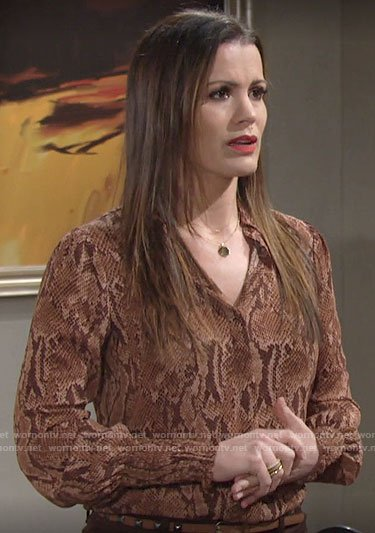 Chelsea's snake print blouse on The Young and the Restless