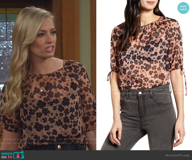 Floral Tie Sleeve Top by Chelsea28 worn by Gemma (Beth Behrs) on The Neighborhood