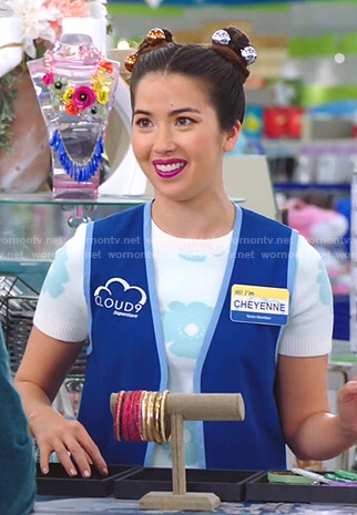 Cheyenne's white floral knit top on Superstore