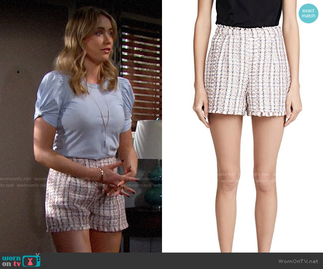 Cinq a Sept Coronado Shorts worn by Florence (Katrina Bowden) on The Bold & the Beautiful