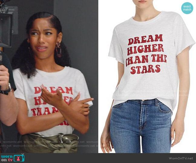 Dream Higher Than The Stars Crewneck Tee by Cinq a Sept worn by Drea Barris (Iman Benson) on BlackAF