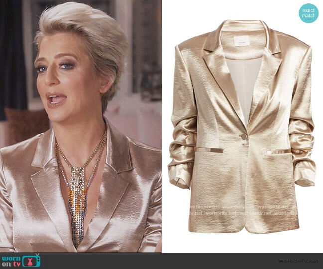 Kylie Satin Blazer by Cinq a Sept worn by Dorinda Medley  on The Real Housewives of New York City
