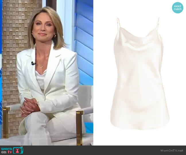 Marta Silk Cowlneck Cami Top by Cinq a Sept worn by Amy Robach  on Good Morning America