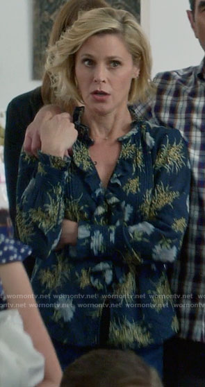 Alex's black floral ruffled top on Modern Family