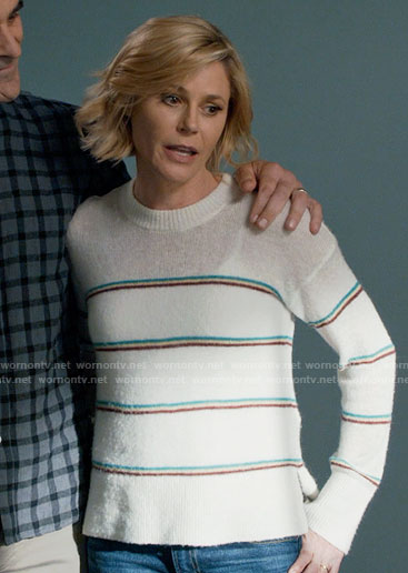 Claire's white striped sweater on Modern Family