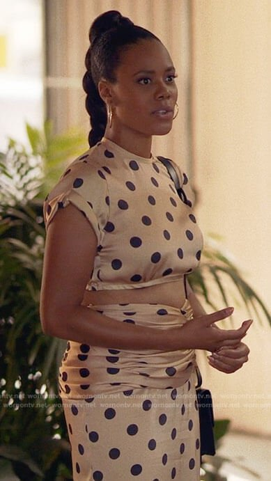 Condola's polka dot crop top and skirt on Insecure
