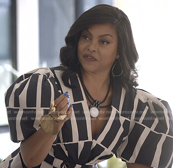 Cookie's black and white print puff sleeve top on Empire