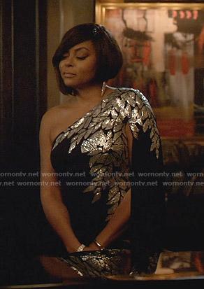 Cookie's black embellished one-shoulder dress on Empire