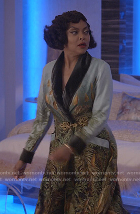 Cookie's green print velvet-trim robe on Empire