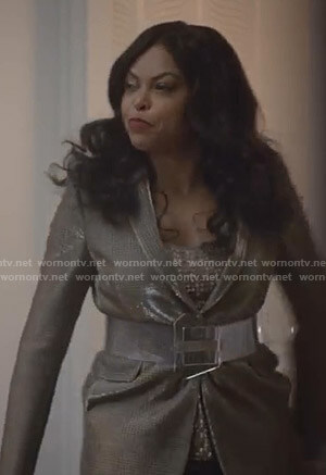 Cookie's metallic check suit on Empire